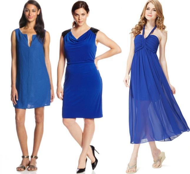Какая обувь подойдет под синее платье
