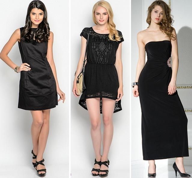 черное платье и черные туфли