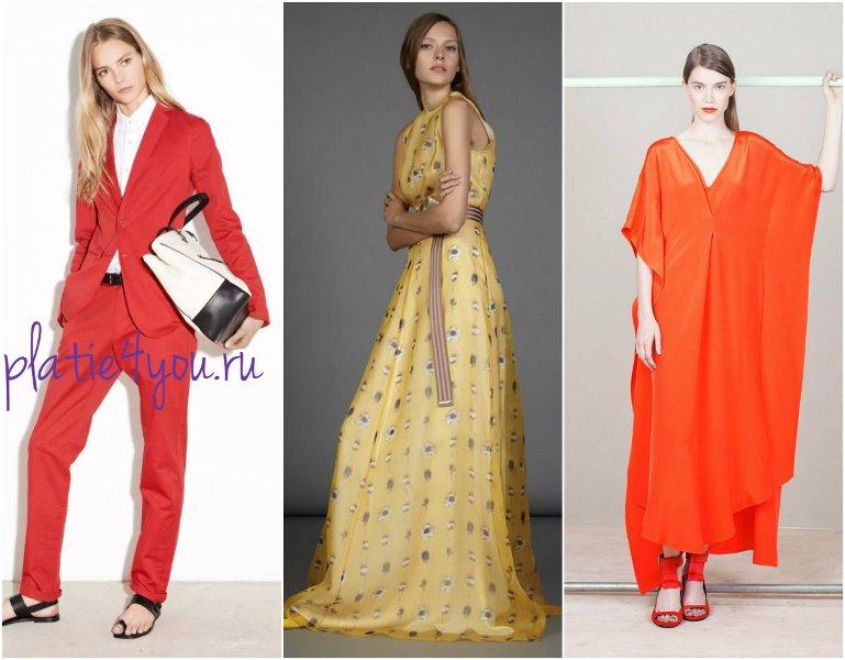 модные цвета 2015 - красный, оранжевый, золотой