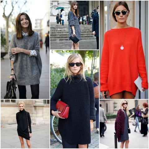 как носить короткое платье-свитер
