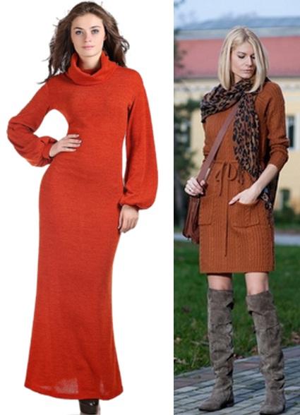 теплые женские платья