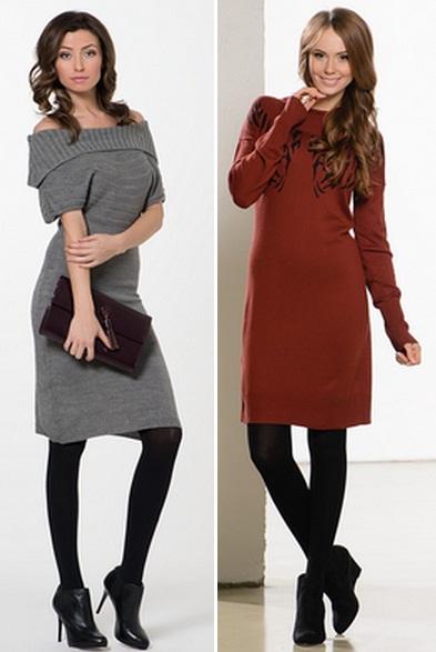 платье с длинным рукавом теплое