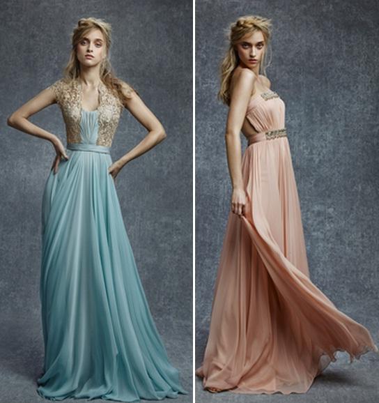 вечерние платья пастельных тонов