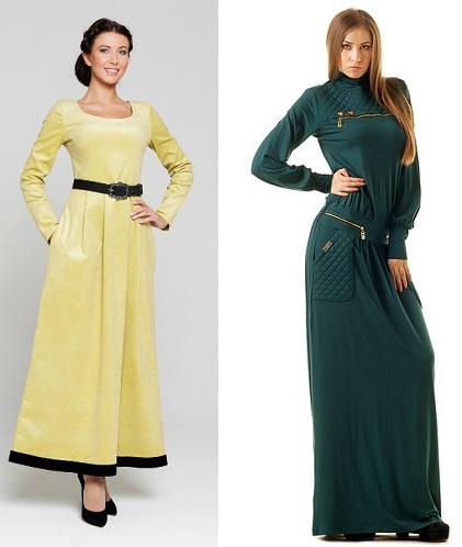Удлиненные платья на осень