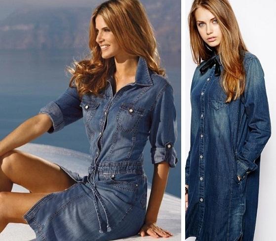 Джинсовые платья и туники фото