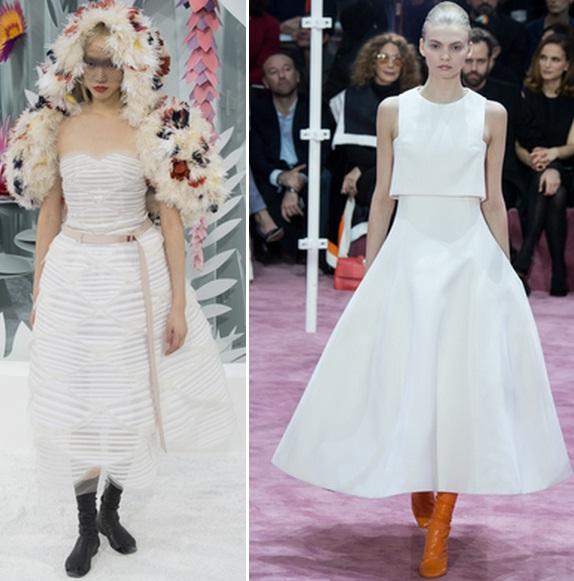 миди белое платье