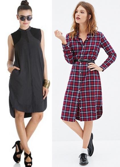 Платье рубашка разной длины