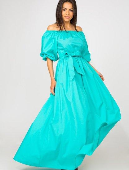 бирюзовое платье в пол с чем носить фото