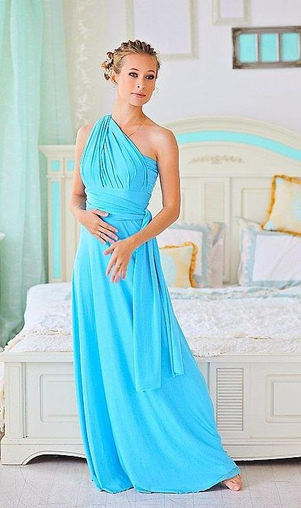 бирюзовое платье на вечер с чем носить