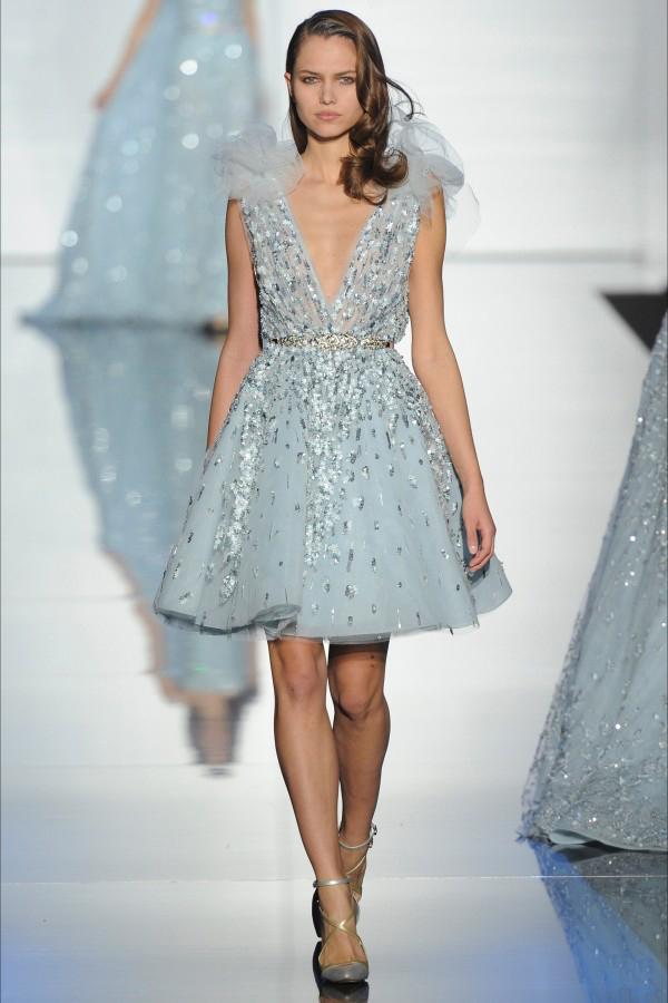 голубые короткие вечерние платья