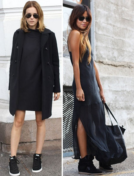 черное платье с кедами фото