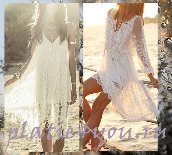 Стиль бохо белое платье