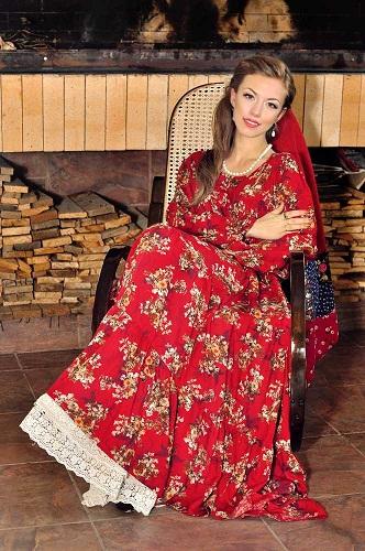 Платья для полных в русском стиле