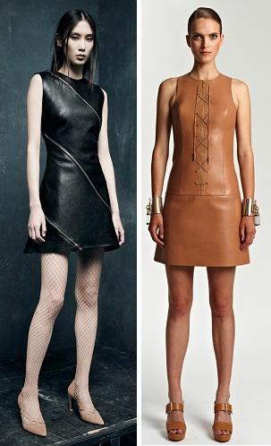 Кожаные платья с молнией