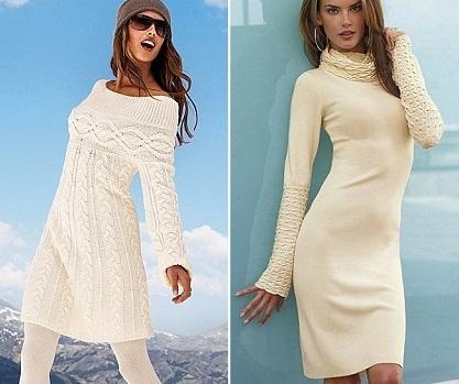 Как носит белое вязаное платье