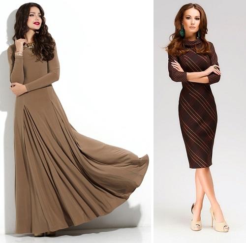 Коричневое платье