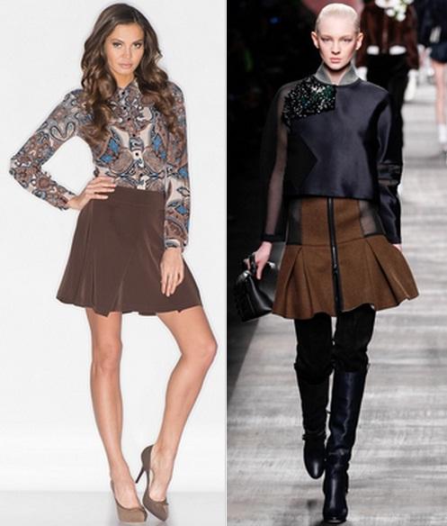 С чем носить юбку в клетку коричневую
