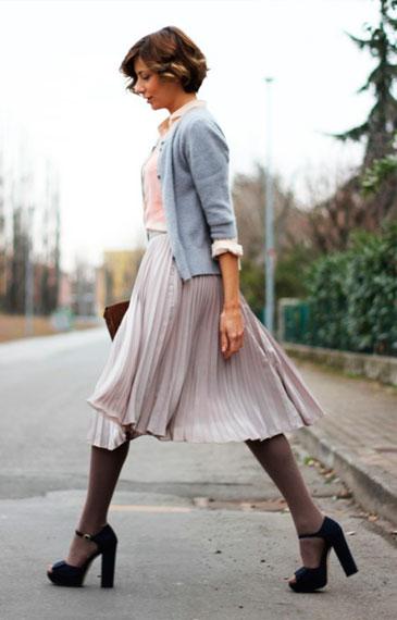 Серая юбка с чем носить обувь