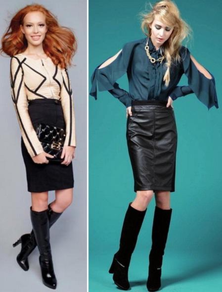 Девушки в сапогах и кожаных юбках