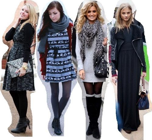 Как и с чем носить платья зимой