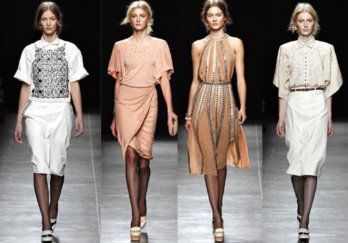 3112e54eb87 ... на котором на некоторых моделях присутствует круглый отложной воротник.  Это делает женские платья Bottega Veneta еще более похожими на ретро стиль  80-х.