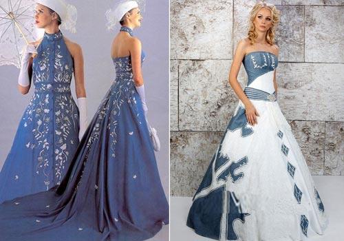 Оригинальные свадебные платья из денима