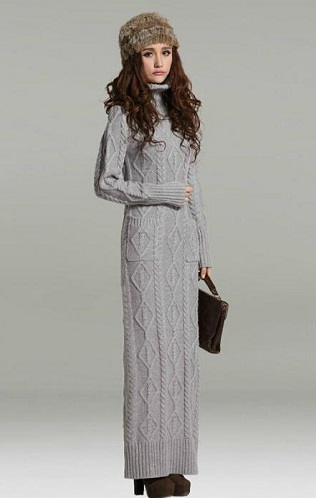 с чем носить длинное вязаное платье