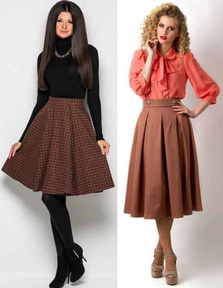 3b436b501e6 Коричневая юбка-солнце – это хороший вариант на каждый день. Их можно носить  с разнообразными кофточками