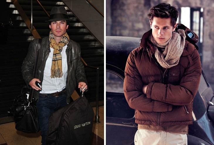 как носить шарф с курткой