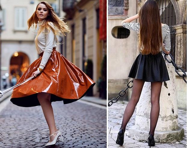 С чем носить кожаную юбку-солнце 0ecebf47954